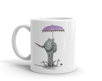 KillerBeeMoto: Octopus Holding An Umbrella Coffee Mug