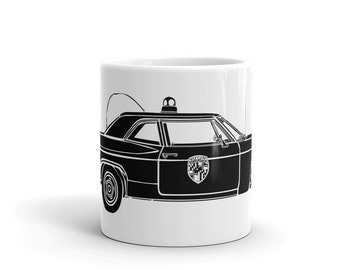 KillerBeeMoto: Vintage Cop Car Patrol Car Coffee Mug (White)