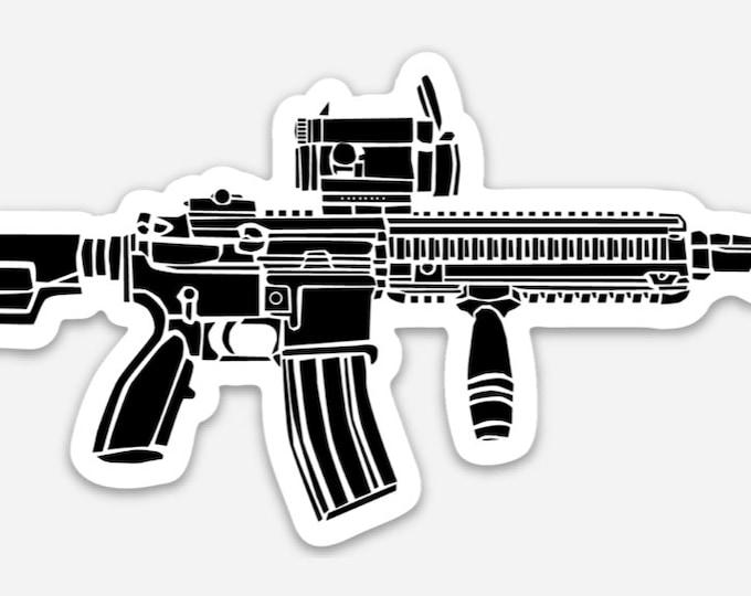 KillerBeeMoto: Vinyl Sticker of HK416 Carbine Hand Drawn Illustration