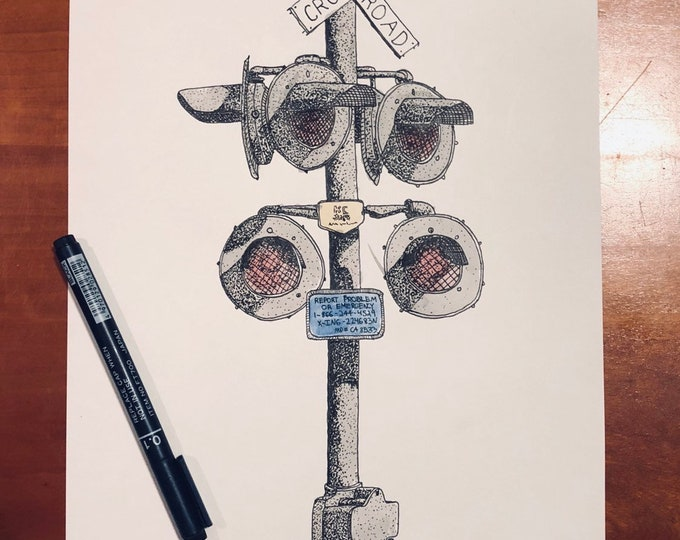 Original Pen And Ink Drawing of Rail Road Signal (prints also available)