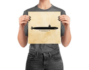 KillerBeeMoto: Los Angeles Class Fast Attack Submarine Print With Custom Vessel Name Option