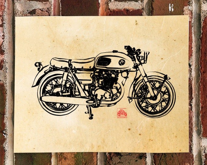 KillerBeeMoto:  Limited Prints Japanese Engineered Vintage 450cc Cafe Racer Side View Motorcycle Poster (Ink Style Illustration) 1 of 50