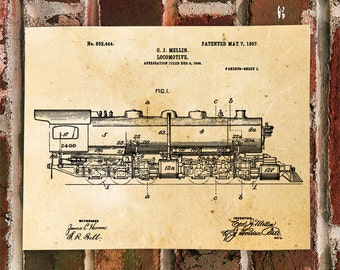 KillerBeeMoto: Duplicate of Original U.S. Patent Drawing For Vintage Mellin Locomotive 1907