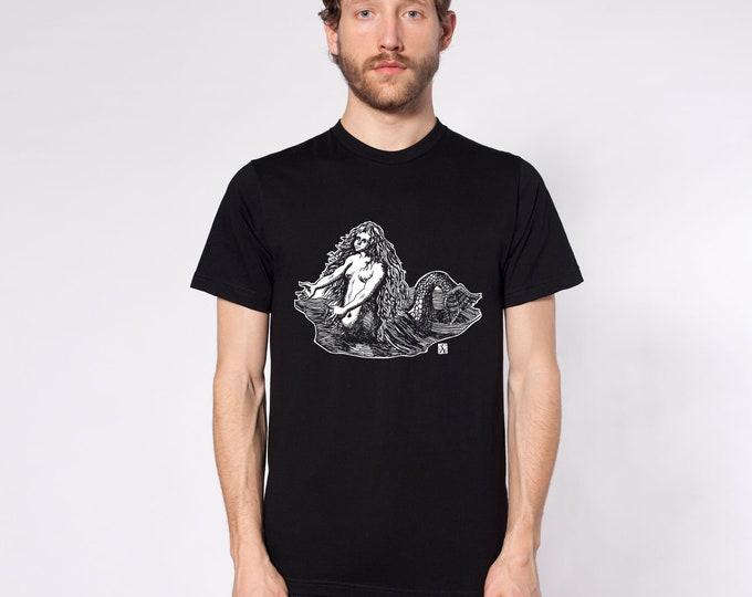 KillerBeeMoto: Mermaid Sketch On Short or Long Sleeve T-Shirt