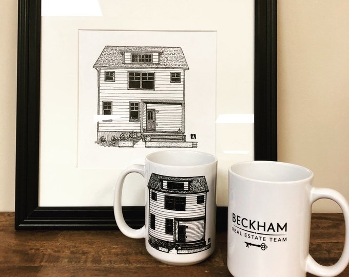 Custom Framed Drawing of Home With Optional Placement of Graphic on Two 15 Oz Coffee Mugs