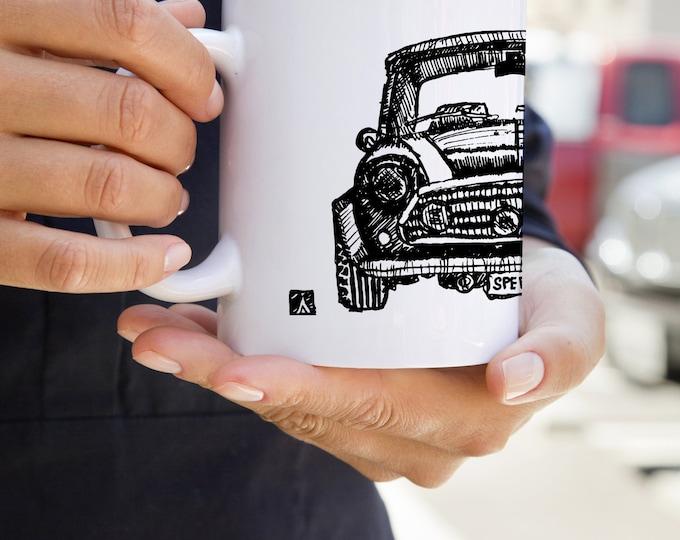 KillerBeeMoto:   Limited Release Hand Drawn Sketch British Engineered Vintage Compact Car On Coffee Mug (White)