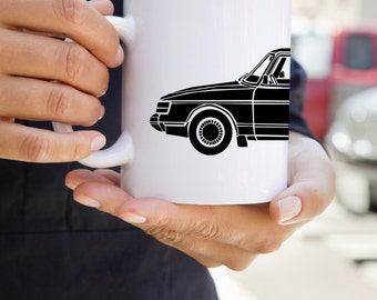 KillerBeeMoto:   Limited Release Scandinavian Engineered Vintage Car On Coffee Mug (White)