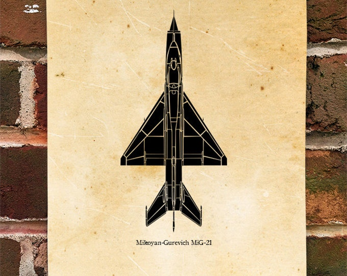 KillerBeeMoto: Limited Print Mikoyan-Gurevich MiG-21 Fighter Jet Aircraft Top View Print 1 of 50