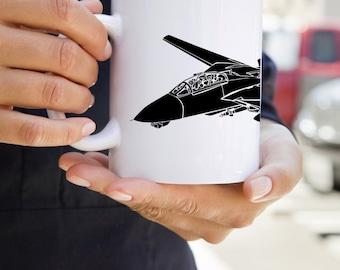 KillerBeeMoto: F-14 Tomcat Fighter Jet Coffee Mug (White)