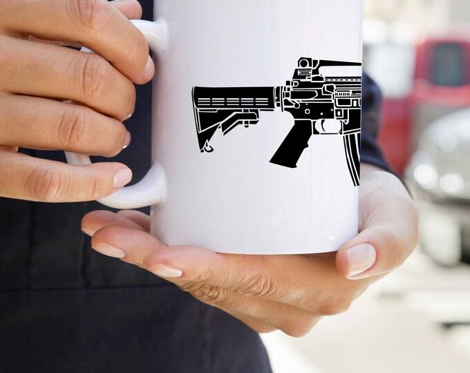 KillerBeeMoto:    M4 Carbine Battle Rifle On A Coffee Mug