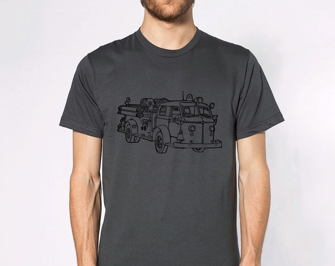 KillerBeeMoto: Vintage Fire Engine Truck Short & Long Sleeve Shirt Cartoon Style