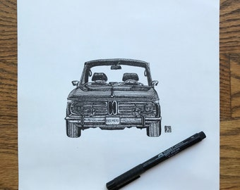 KillerBeeMoto: Original Pen Sketch of Vintage BMW 2002 (Limited Prints Also Available)