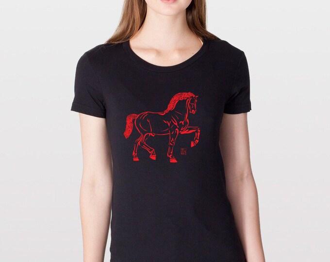 KillerBeeMoto: Leonardo Davinci's Statue Horse B&W Illustration Horse T-Shirt