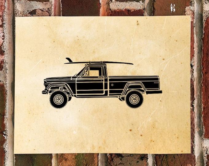 KillerBeeMoto: Limited Print Vintage American 4 Wheel Drive Truck Print Print 1 of 100