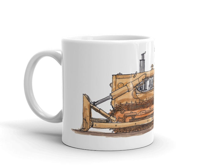 KillerBeeMoto: Coffee Mug Hand Drawn Graphic of Vintage Bull Dozer With Water Color