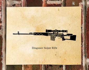 KillerBeeMoto: Vintage Soviet Dragunov Sniper Rifle Limited Print