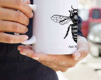 KillerBeeMoto:  Beekeepers   Coffee Mug Apis Mellifera Honey Bee Sketch On A Mug