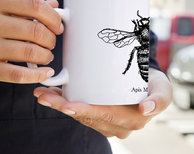 KillerBeeMoto:  Beekeepers   Coffee Mug Apis Mellifera Honey Bee Sketch On A Mug