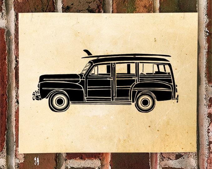KillerBeeMoto: Limited Print Vintage Super Deluxe Surf Wagon Automotive Print 1 of 50