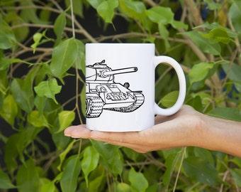 KillerBeeMoto:    Russian T34 Tank Design On White Coffee Mug