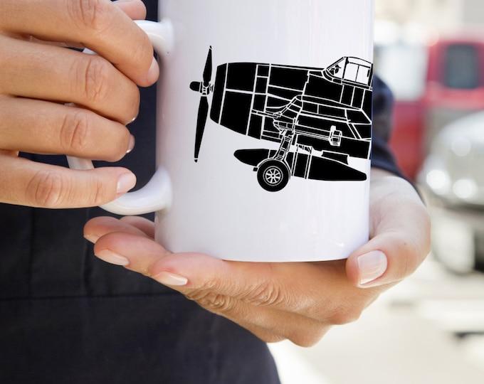 KillerBeeMoto:   Coffee Mug Grumman F6F Hellcat Carrier Based Fighter Aircraft