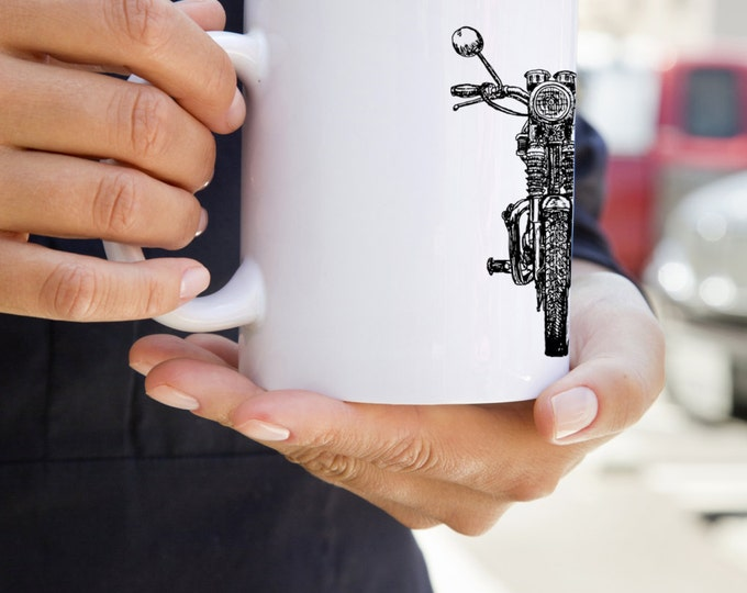 KillerBeeMoto:   Hand Drawn British Vintage Motorcycle Graphic On A White Coffee Mug