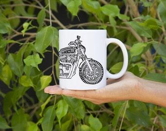 KillerBeeMoto:   MotoLady Blondezilla Custom Sportster Scrambler On Coffee Mug (White) Cartoon Version