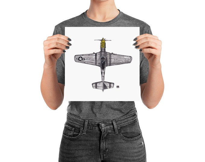 KillerBeeMoto: Original Pen And Ink Sketch of P51 Mustang Top View (Prints Also Available)