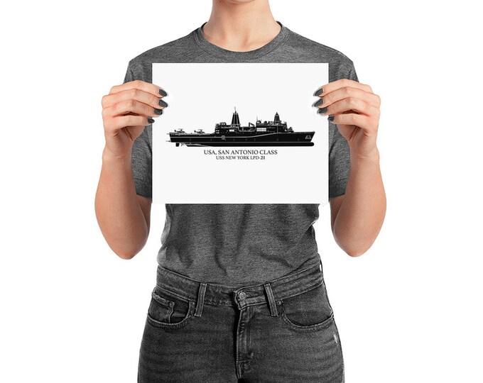 KillerBeeMoto: San Antonio-Class Amphibious Transport Dock US Navy Vessel Print With Custom Vessel Name Option