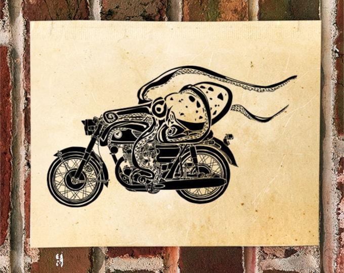 "KillerBeeMoto: Dangerous Octopus On ""Bomber"" Cafe Racer Motorcycle Motorcycle Print 1 of 50"