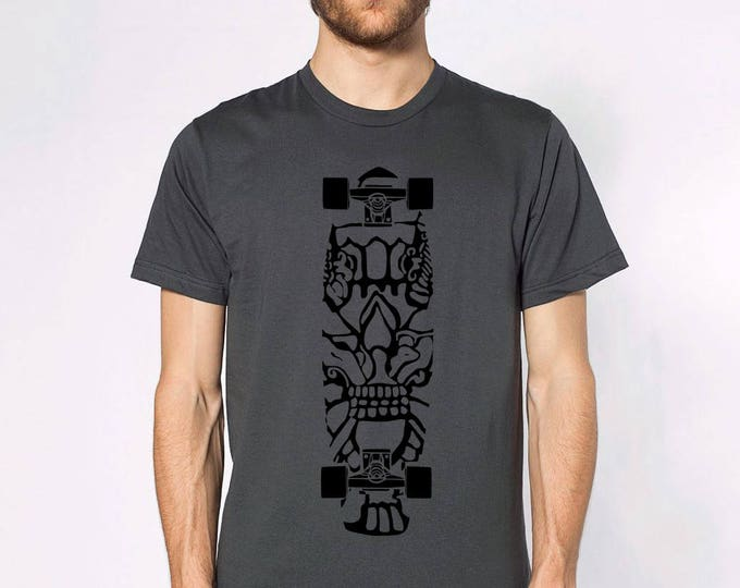 KillerBeeMoto: Skateboard With Mayan Design Print Short or Long Sleeve T-Shirt