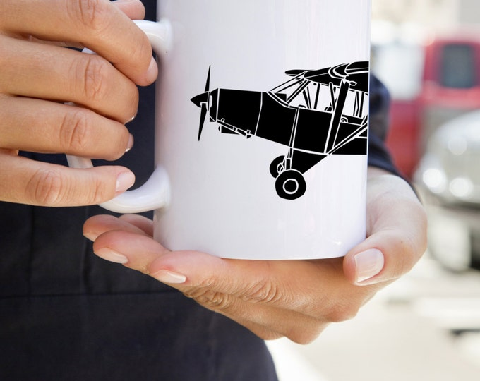 KillerBeeMoto: Coffee Mug Limited Release PA-18 Recreational Aircraft Drawing On Coffee Mug