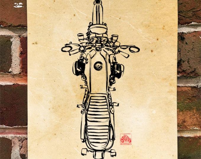 KillerBeeMoto:  Limited Prints German Engineered Airhead /7 Top View Poster (Ink Style Illustration)