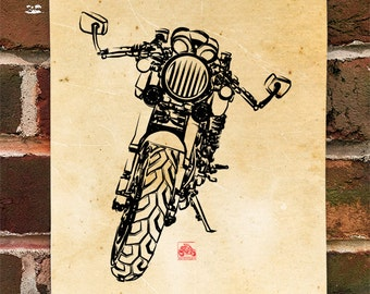 KillerBeeMoto:  Limited Prints Sleek Italian Engineered Cafe Racer Front View Poster (Ink Style Illustration)