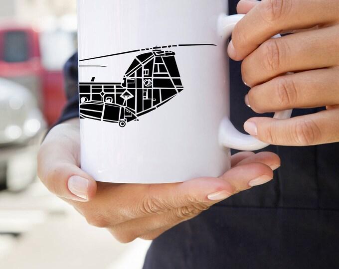 KillerBeeMoto:  CH-46 Sea Knight Helicopter On Coffee Mug (White)