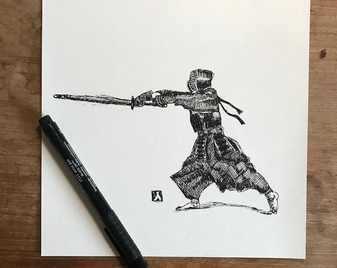 KillerBeeMoto: Original Pen Sketch of Kendo Martial Artist