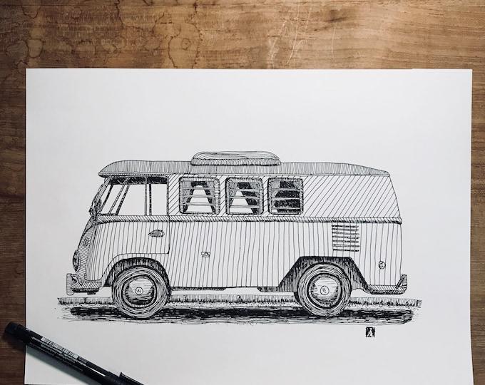 KillerBeeMoto: Original Pen Sketch of Vintage VW Camper Bus (Limited Prints Also Available)
