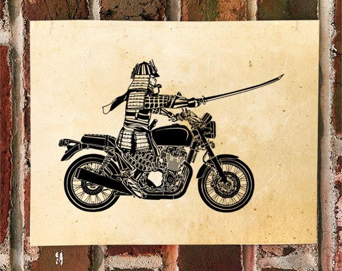 KillerBeeMoto: Samurai On Motorcycle Charging Into Battle For The Shogun Motorcycle Print 1 of 50