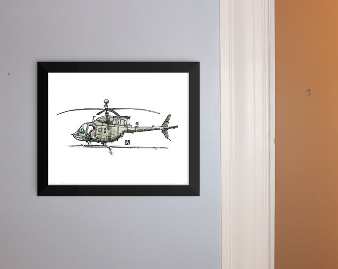 KillerBeeMoto: Bell OH-58 Kiowa Helicopter Pen & Ink With Water Color Effect Limited Print 1 of 100