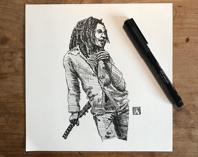 KillerBeeMoto: Original Pen Sketch of Bob Marley 1 of 1 - 8 by 8 Inches