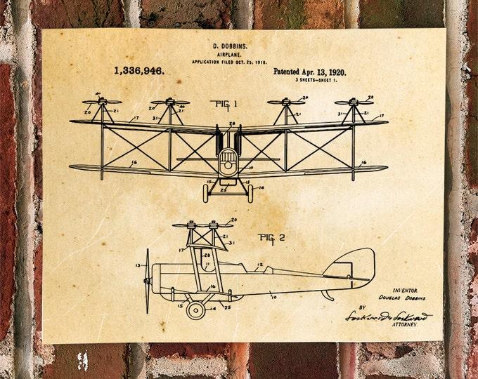 KillerBeeMoto: Duplicate of Original U.S. Patent Drawing For Vintage Biplane With Vertical Props