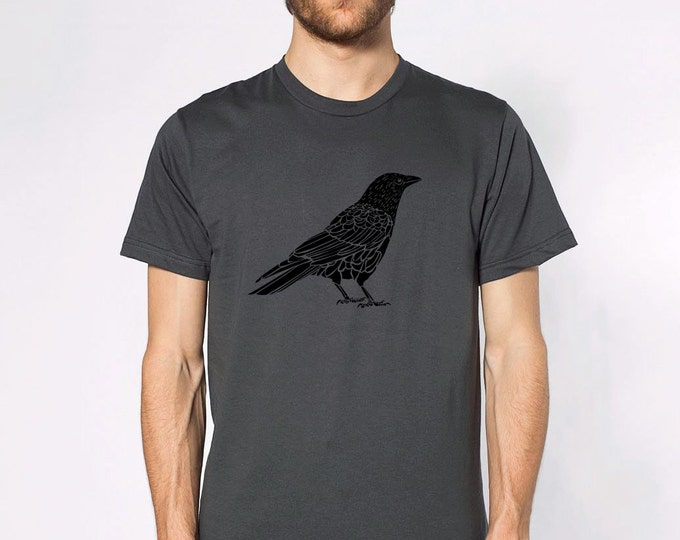 KillerBeeMoto: Black Crow Short Sleeve T-Shirt Black And White
