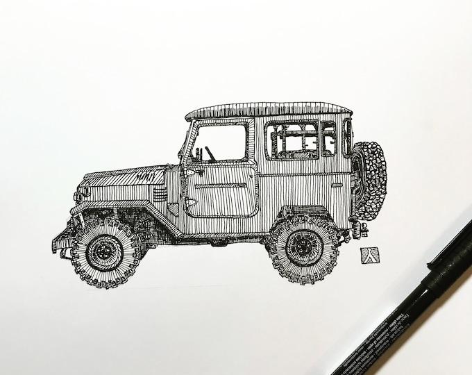 KillerBeeMoto: Original Pen Sketch of Vintage Toyota FJ40 (Limited Prints Also Available)