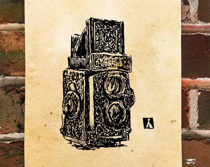 KillerBeeMoto: Hand Drawn Vintage Camera Print