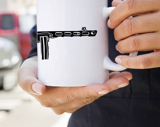 KillerBeeMoto:    Coffee Mug of Soviet PPSh-41 Machine Gun