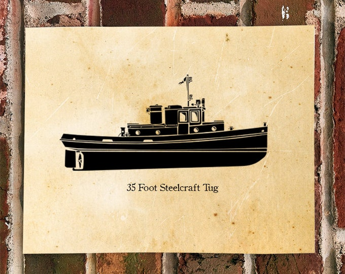 KillerBeeMoto: Vintage 35 Foot Steelcraft Tug Boat Print