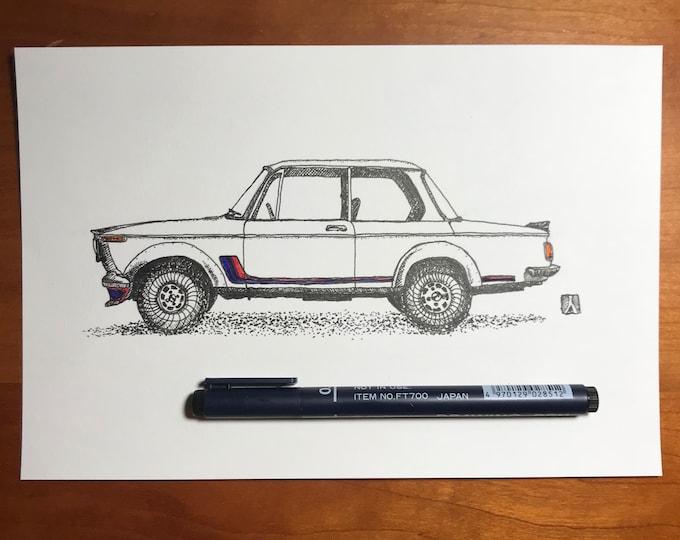 Original Pen And Ink Drawing of Vintage BMW 2002 Print