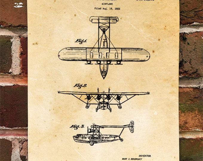 KillerBeeMoto: Duplicate of Original U.S. Patent Drawing For Vintage Heavy Sea Plane