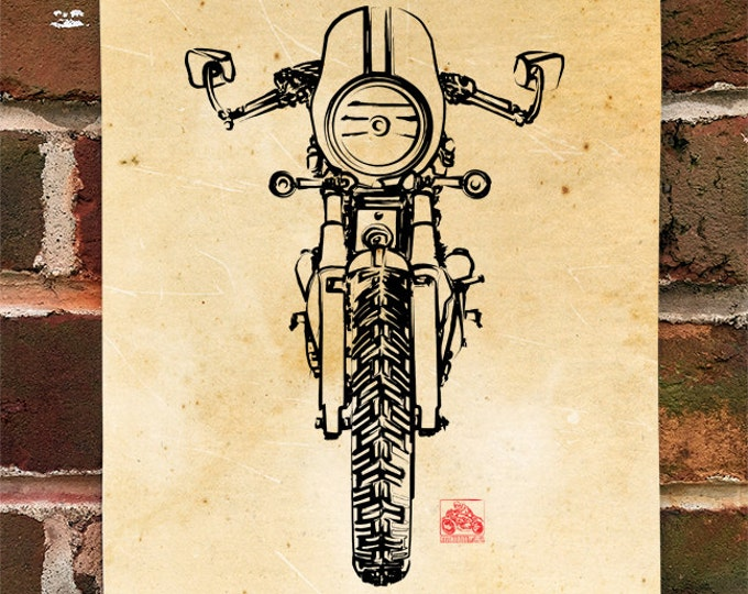 KillerBeeMoto:  Limited Prints British Engineered Cafe Racer Front View Poster (Ink Style Illustration)