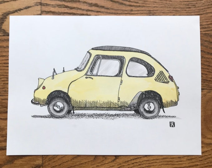 KillerBeeMoto: Original Hand Draw Sketch of Vintage Japanese Micro-Car (Limited Prints Also Available)